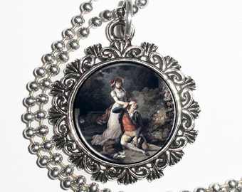 The Lover Caught Unawares Art Pendant, Lovers Resin Pendant, Charles-Melhior Descourtis Art, Photo Charm Necklace