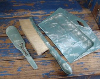 Beautiful Vintage Two Piece Aqua/Green Celluloid Crumb Butler Tray with Brush and Matching Shoe Horn