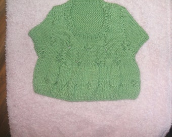SALE hand knitted baby girl top hand knit baby top, green newborn