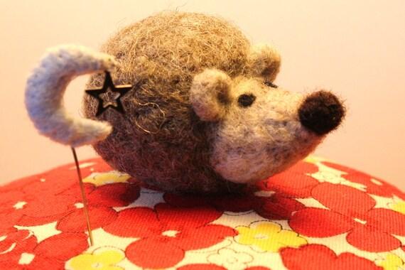 Hedgehog - Needlefelt with Handstitched  Moon and Star