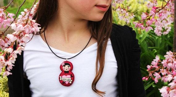 Matryoshka - Hand Embroidered Felt Pendant with Heart