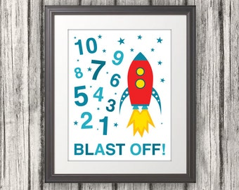 123, Rocket Ship, 123 Poster, 123 Print, Numbers Print, Numbers Poster, Kids Wall Art, Blast Off  - 11 x 14