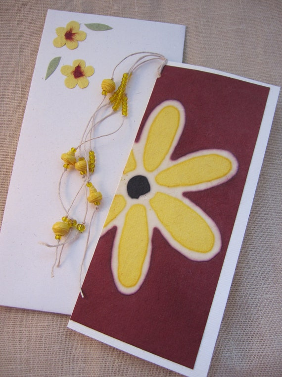 Card -bookmark-tag made from special batik handmade paper