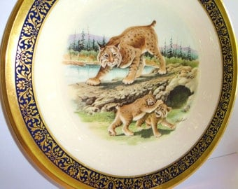 Vintage Lenox Woodlands Wildlife Collectors Plate-Bobcats-Boehm-Limited Edition 24K Gold- Porcelain-Wall Decor- Collectibles-1980-Home Decor