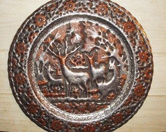 Vintage Copper and Pewter Hand Forged Plate - Wall Decor - Persian - Asian - Turkey - Mid Eastern - Collectibles - Deer - Hammered