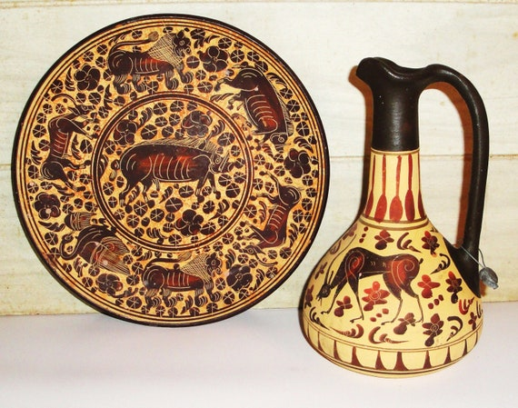 Vintage ancient greek reproductions plate and by muzettaswaltz for Ancient greek pottery decoration