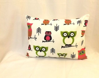 Decorative Lumbar Pillow Cover - 12 x 18 - Owl Print - BOTH SIDES - Envelope Closure - Accent Pillow - Throw Pillow