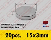 20 pcs. 15mmx3mm  Neodymium Rare Earth Super Strong Magnets