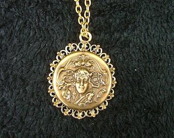 Gold Dust Woman-Gold Bronze Brass Art Nouveau Style Pendant Necklace, Chain