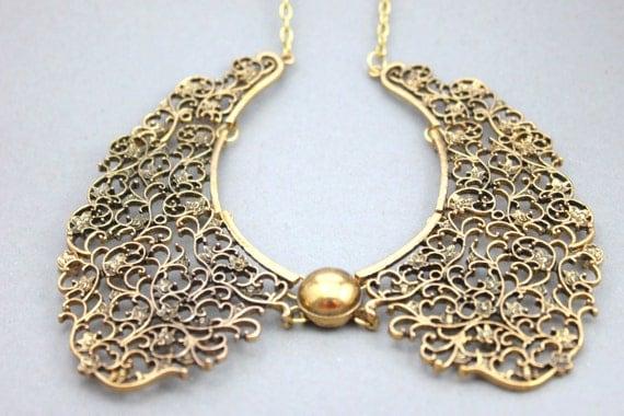 Vintage style Bronze Peter Pan Collar Necklaces