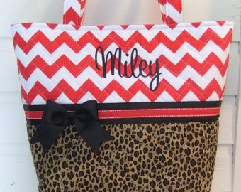 XL Red Chevron / Leopard Print Quilted Purse / Tote / Diaper Bag