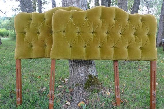 Vintage Upholstered Velvet  Twin Headboards