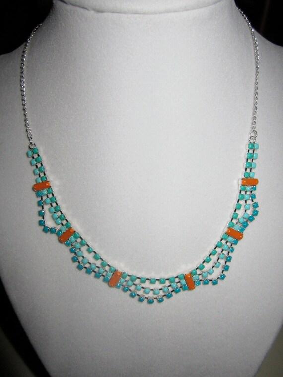 Ocean Waves Handpainted Rhinestone Necklace