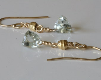 Trillion Cut Green Amethyst Earrings 14kt GF Hand Hammered 24kt Gold Vermeil Light Green
