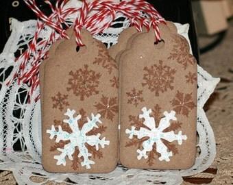 Christmas Gift Tags - Set of 8 Christmas Holiday gift tags with twine - Snowflake