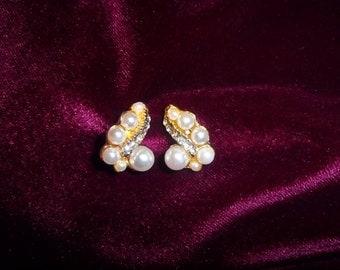 Lovely Pearl and Rhinestone Pierced Earrings Pair