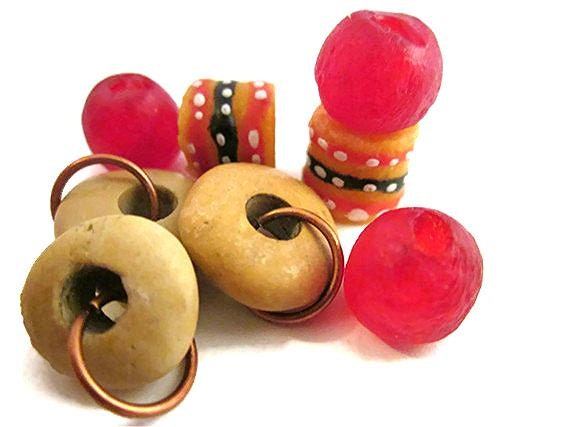 Cherries and Cheerios - Stone rondell donut and Red Glass African and Krobo Bead Supply Eco Friendly