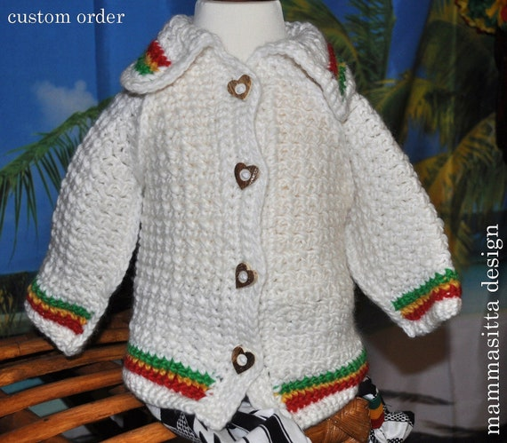 CUSTOM ORDER for msantixxx white crochet-babycardigan (Rasta) 6-12 months