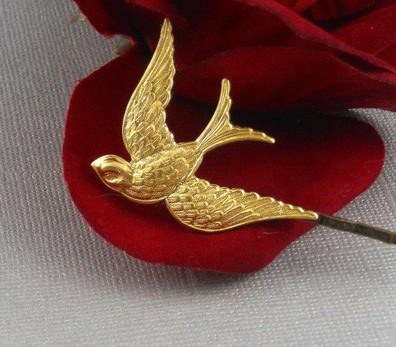 Bird Bobby Pin, Bird Hair Pin, Golden Bridal Hair Pin, Bridal Hair Clip, Woodland Wedding