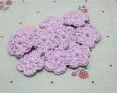 NEW-Mini Crochet Flowers Light Purple (15 pcs)