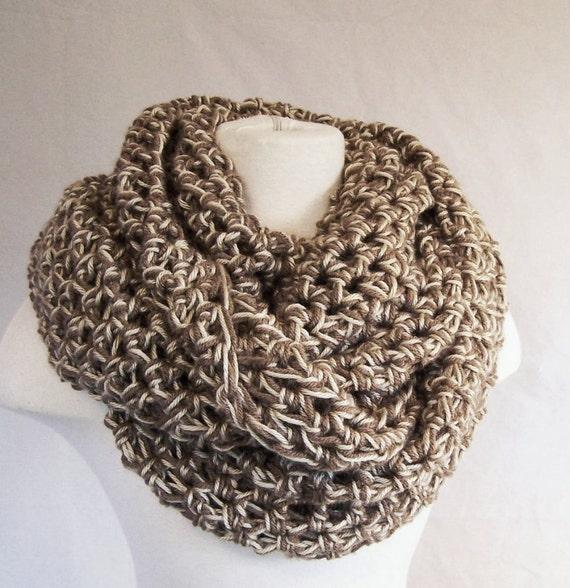 CIRCLE SCARF Earth tones vegan crochet infinity long scarf wrap shawl cowl Bohemian soft loose weave tan beige off white light coffee brown