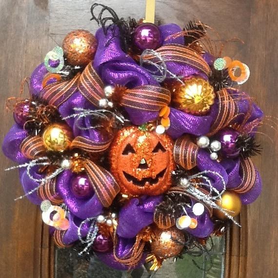 Glitter Orange Halloween Pumpkin Wreath