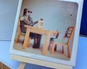 Ceramic tile vintage toy robot heywood wakefield