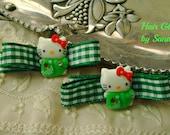 Green Hair Clips - Gingham Hair Clips - Hair Clip Set - Kitty Cat Clips - Green and White Gingham Hair Clip Set - Boutique Hair Clips