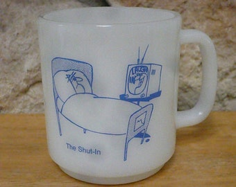 Vintage Jeanette Glass Milk Glass mug The Shut In Laugh In TV