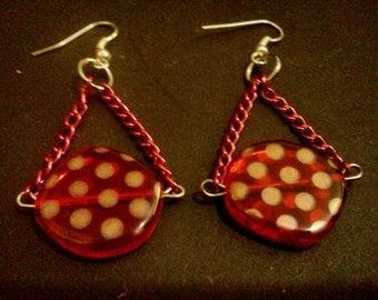 Red polka dot chain earrings