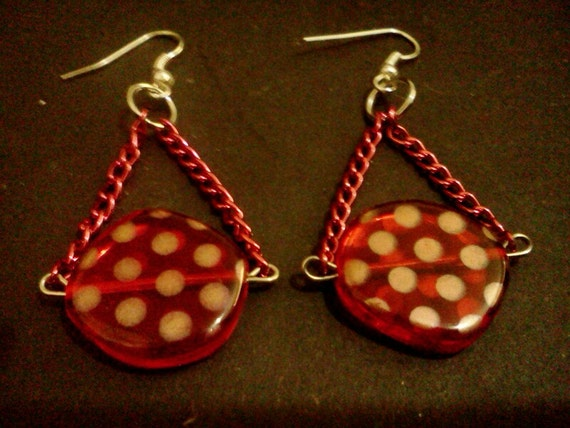 Red polka dot chain earrings