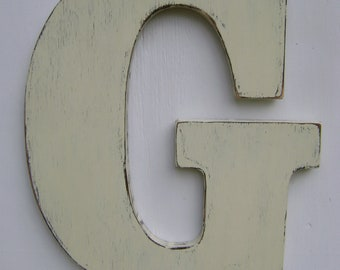 """Shabby chic wooden letter """"G"""" rustic wall hanging letters 18"""" tall and 3/4"""" thick home deocr"""
