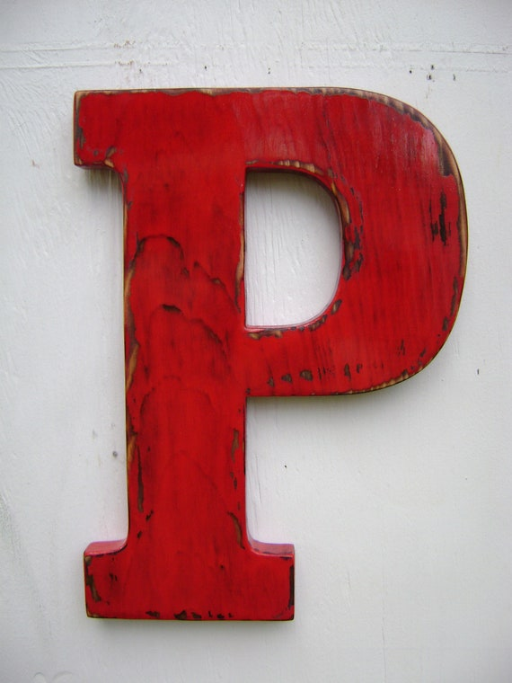 Items similar to wooden letter p shabby chic rustic wall hanging decor painted true red on etsy - Wood letter wall decor ...