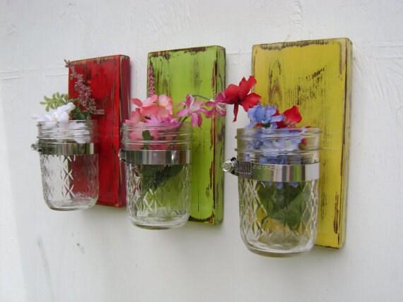 Christmas gift Shabby chic rustic wooden vases sconce mason jar wood vase wall decor cottage decor - set of THREE