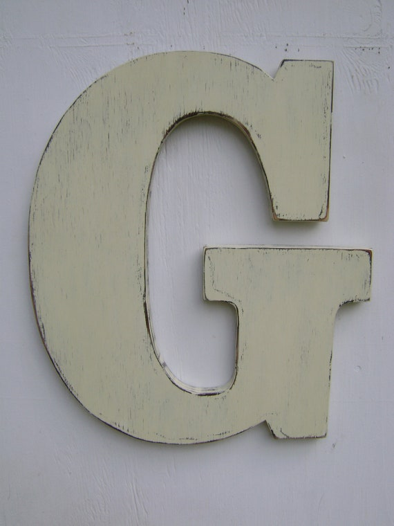 "Shabby chic wooden letter ""G"" rustic wall hanging letters 18"" tall and 3/4"" thick home deocr"