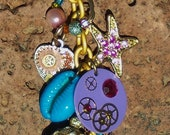 RESERVED Beachy Steampunk Cluster Charm Necklace
