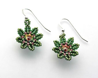 Beaded Flower Earrings in Green and Pink Seed Beads, Swarovski Crystal, and Sterling Silver