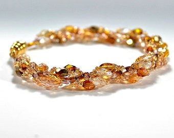 Spiral Topaz  Beaded Bracelet made with Seed Beads, Fire-Polished Faceted Beads, and a Magnetic Clasp