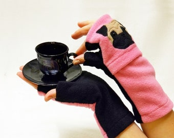 Pug Fingerless Gloves  with Pockets for Dog Lovers