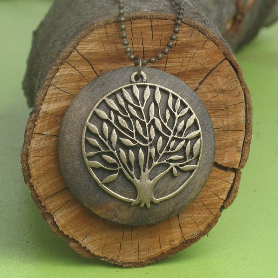 Tree of Life Necklace, Antique Brass and Wood Pendant Hangs on Ball Chain