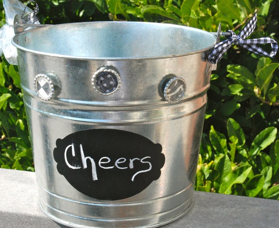 Galvanized Bucket With Chalkboard Label Perfect By