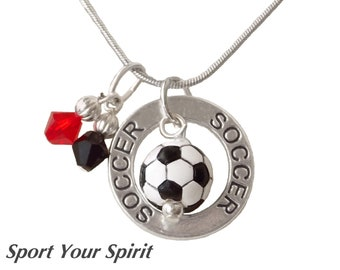 Personalized,Soccer Necklace, Team Colors, Swarovski Necklace, Soccer Captain,Soccer Gift,Team Gift,Soccer Mom,Soccer Charm, (Made to Order)