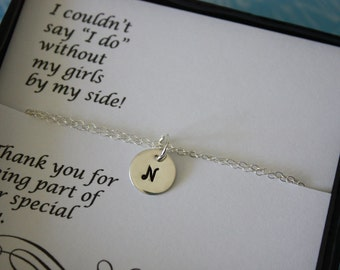 4 Bridesmaid Bracelet Personalized, Bride Bracelet, Bridesmaid Gift, Initial Charm, Thank you card