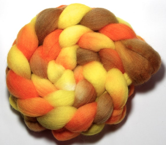Handpainted Roving - Citrine - Falkland wool, 4 ounces.