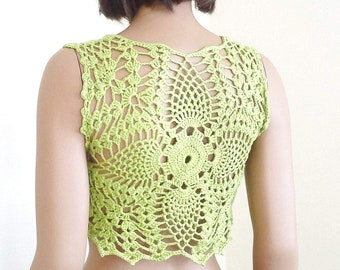 Pistachio green crochet bolero, gift for her, crochet bolero, womens clothing, gift for mom, womens bolero, summer tank, sommer top