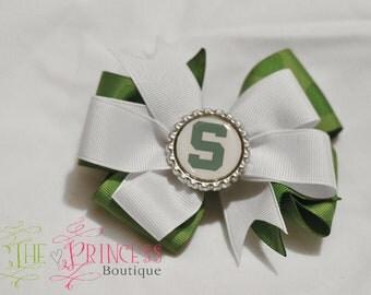 Michigan state hair bow, university hair bow, green bow, Spartans, state  hair clip