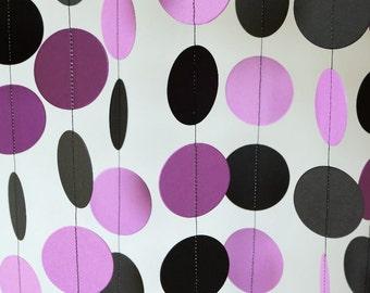 Purple and Black Garland, Dark Lavender Paper Garland, Orchid Wedding Decor, Purple Bridal Shower, Birthday Party, 10 ft. long