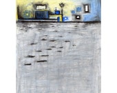 8x10 Print of Abstract Dock Oil Pastel Painting, Gray, Blue, Yellow