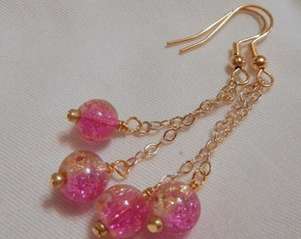 Pink and Yellow Chain Earrings,  in Gold
