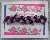 Elegant Infant Headband Crown of Roses on Stretch Lace